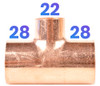 28mm x 28mm x 22mm Reducing Tee - End Feed