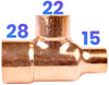 28mm x 15mm x 22mm Reducing Tee - End Feed