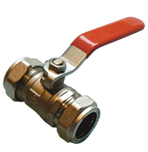 22mm Economy Lever Ball Valve - Red Handle