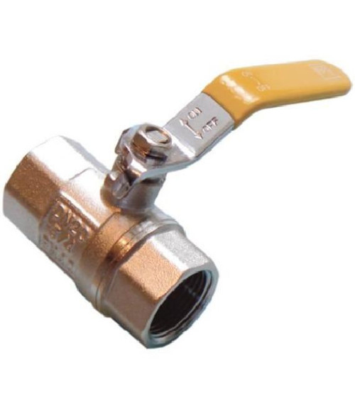 "1/2"" Lever Ball Valve - Yellow Handle"