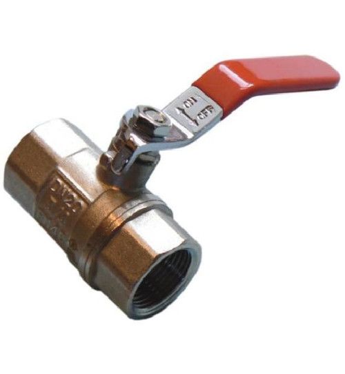 """3/4"""" Lever Ball Valve - Red Handle"""