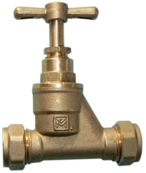 28mm Brass Stopcock - Compression