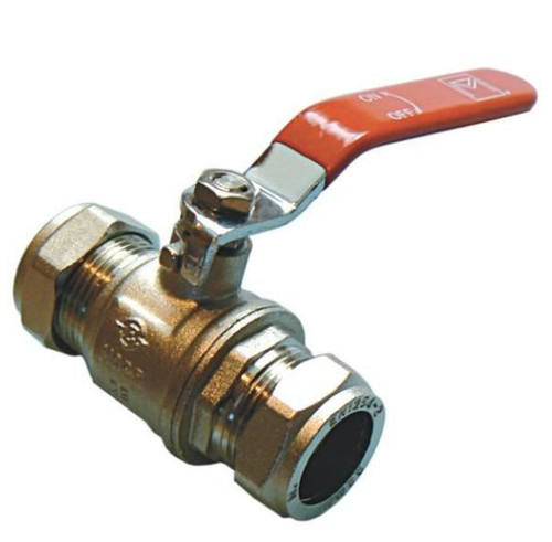 22mm Lever Ball Valve - Red Handle