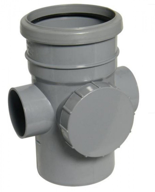 FLOPLAST 110mm Soil Ring Seal Access Socket Spigot - Grey
