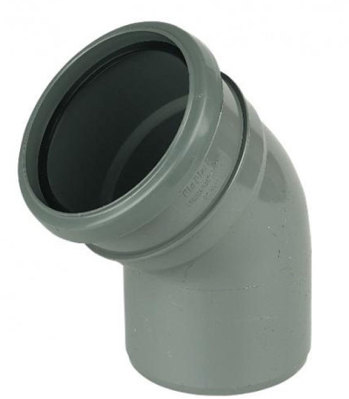 FLOPLAST 110mm Ring Seal Soil 135 Degree Socket to Spigot Bend - Grey