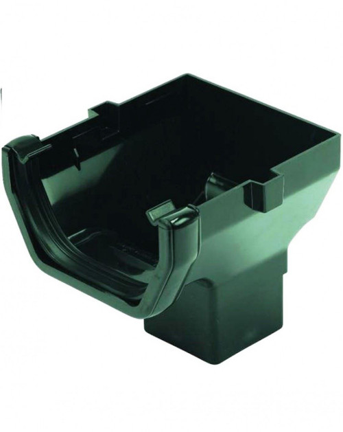 FLOPLAST 114mm Square Gutter Stop End Outlet - Black