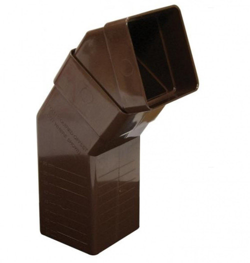 FLOPLAST 65mm Square Downpipe Adjustable Offset Bend - Brown