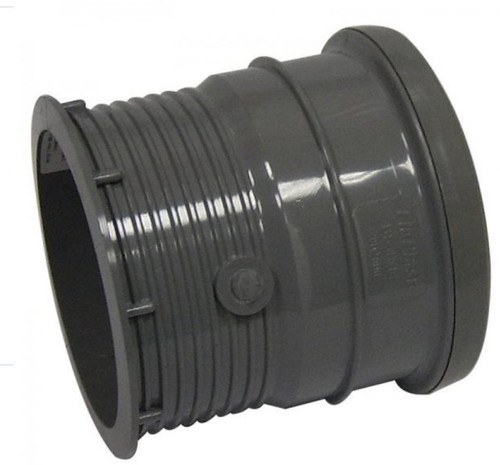 FLOPLAST 110mm Ring Seal Soil Pipe Drain Connector - Grey