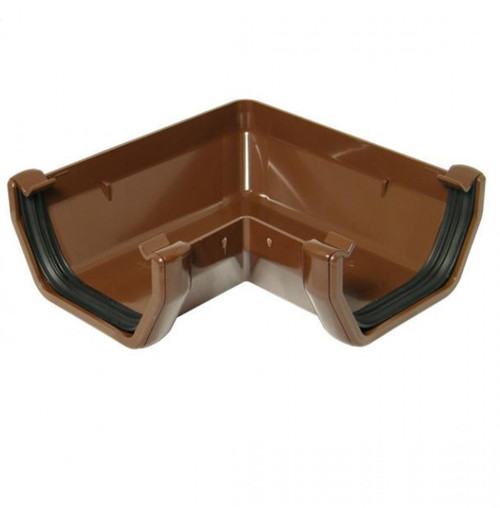 FLOPLAST 114mm Square Gutter 90 Degree Angle - Brown