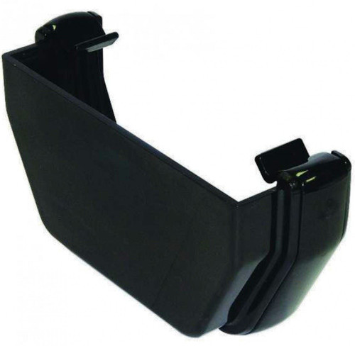 FLOPLAST 114mm Square Gutter External Stop End - Black