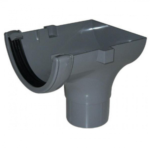 FLOPLAST 112mm Half Round Gutter Stop End Outlet - Grey