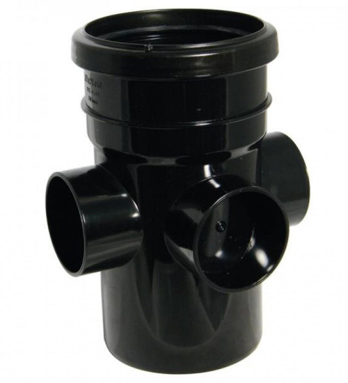 FLOPLAST 110mm Ring Seal Soil Boss Pipe, Socket to Spigot - Black