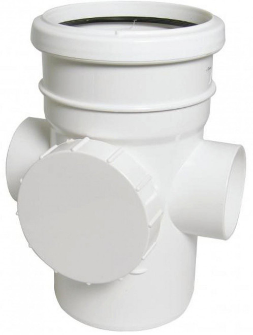 FLOPLAST 110mm Soil Ring Seal Access Socket Spigot - White