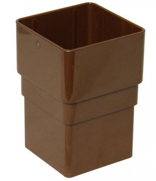 FLOPLAST 65mm Square Downpipe Socket - Brown