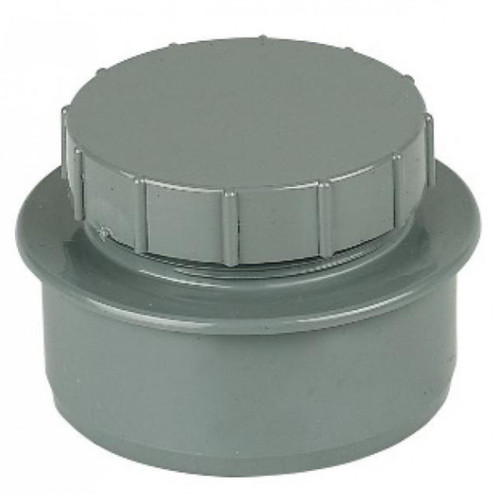 FLOPLAST 110mm Soil Screwed Access Cap - Grey