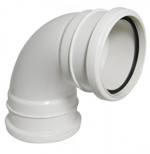 FLOPLAST 110mm Ring Seal Soil 92.5 Degree Double Socket Bend - White