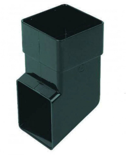 FLOPLAST 65mm Square Downpipe Shoe - Black
