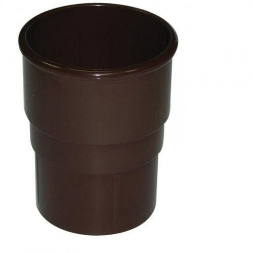 FLOPLAST 68mm Round Gutter Pipe Socket - Brown