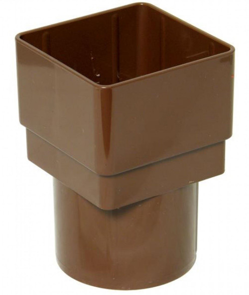 FLOPLAST 65mm Square to 68mm Round Downpipe Adapter - Brown