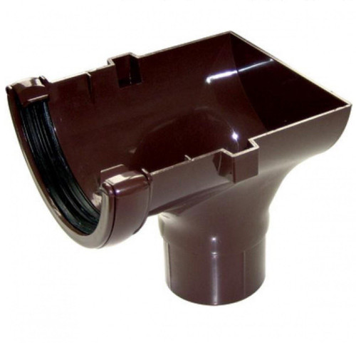 FLOPLAST 112mm Half Round Gutter Stop End Outlet - Brown