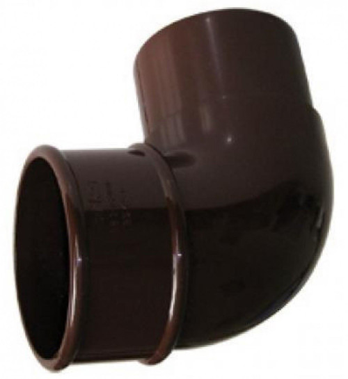 FLOPLAST 68mm Round Gutter Pipe 92.5 Degree Offset Bend - Brown