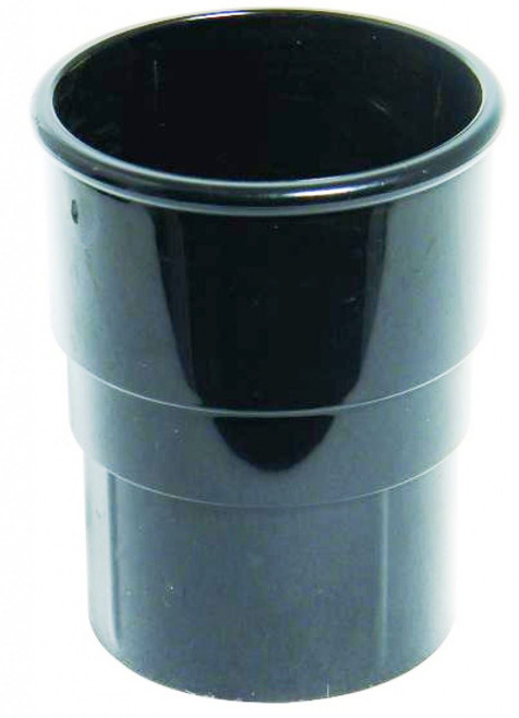FLOPLAST 68mm Round Gutter Pipe Socket - Black