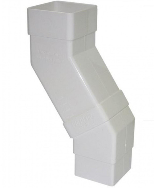 FLOPLAST 65mm Square Downpipe Adjustable Offset Bend - White