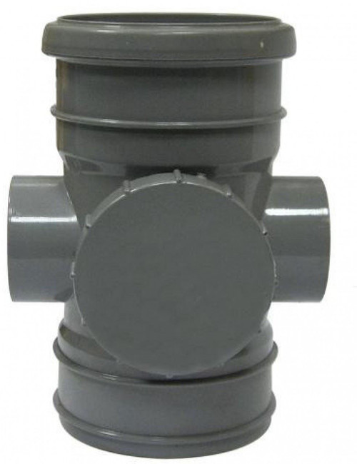 FLOPLAST 110mm Soil Access, Ring Seal Socket to Solvent - Grey