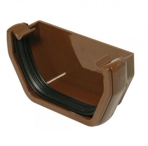 FLOPLAST 114mm Square Gutter External Stop End - Brown