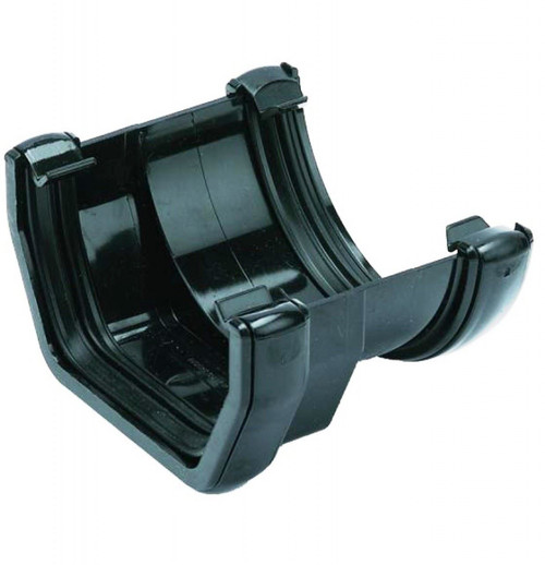 FLOPLAST 114mm Square to 112mm Round Gutter Adapter - Black