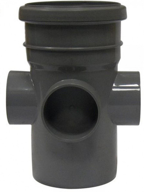 FLOPLAST 110mm Soil Boss Pipe, Ring Seal Socket to Solvent - Grey