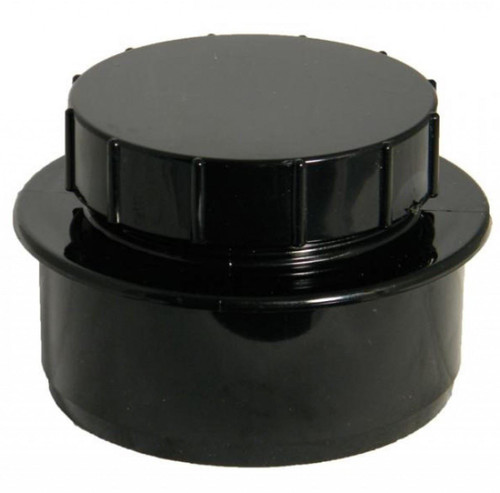 FLOPLAST 110mm Soil Screwed Access Cap - Black