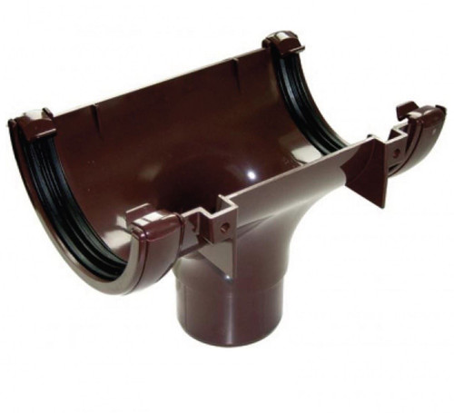FLOPLAST 112mm Half Round Gutter Running Outlet - Brown