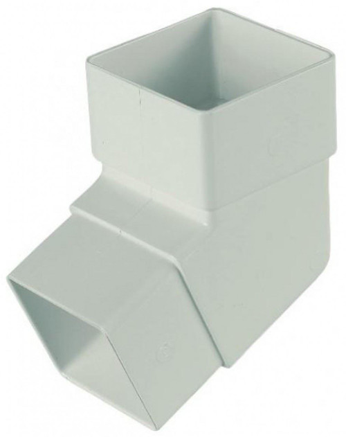 FLOPLAST 65mm Square Downpipe 112.5 Degree Offset Bend - White