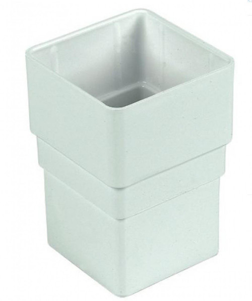 FLOPLAST 65mm Square Downpipe Socket - White