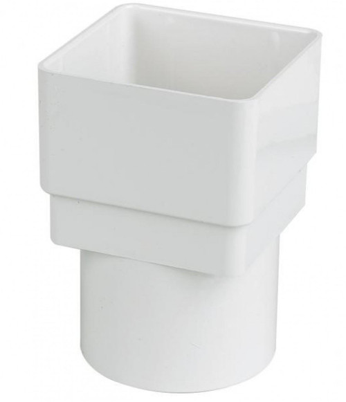FLOPLAST 65mm Square to 68mm Round Downpipe Adapters - White