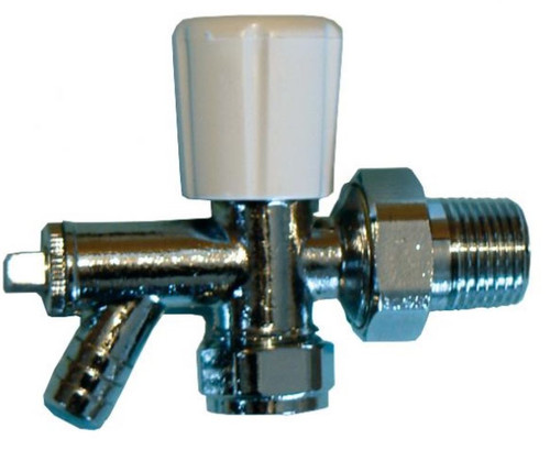 15mm Angled Radiator Valve With Drain Off - Optima
