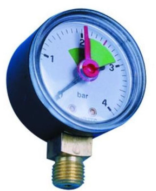 0-4 Bar Pressure Gauge - Bottom Connection