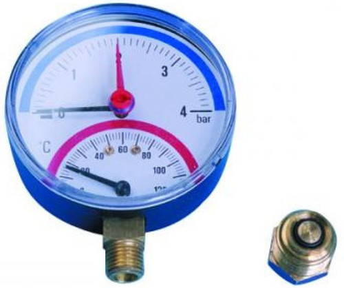 0-4 Bar Temperature & Pressure Gauge - Bottom Connection