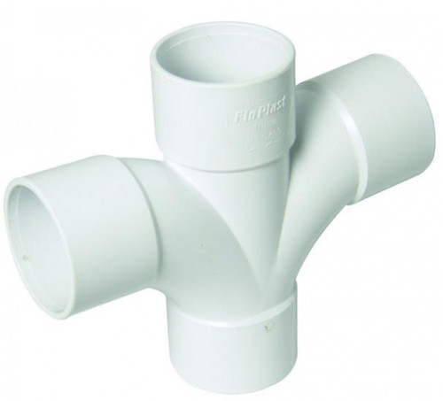 FLOPLAST ABS Solvent 92.5' Degree 40mm Waste Cross Tee - White