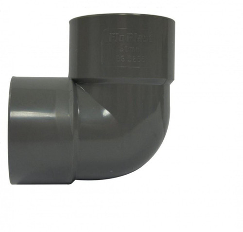 FLOPLAST ABS Solvent 90 Degree 50mm Waste Knuckle - Grey