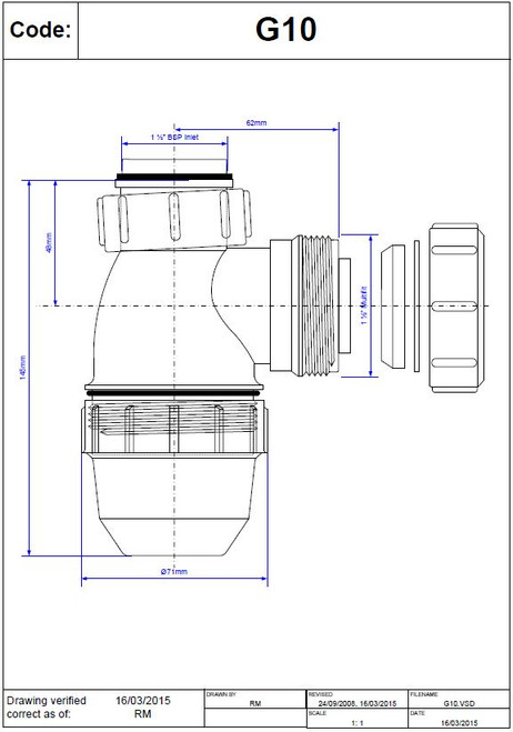 """Dimensions of McAlpine 1 1/2"""" x 38mm Seal Bottle Trap - G10"""