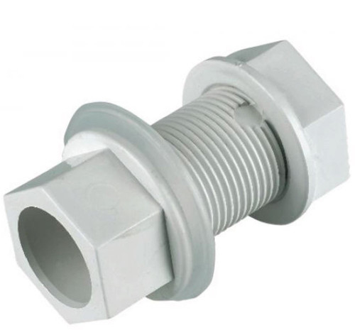 FLOPLAST overflow straight tank connector 21.5mm white
