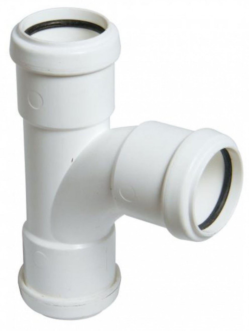 FLOPLAST 40mm White Pushfit Waste Pipe Tee