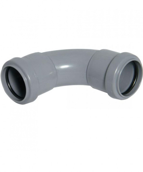 FLOPLAST 50mm Grey Pushfit Waste Pipe Bend