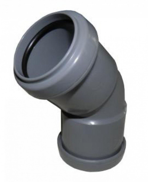 FLOPLAST 50mm Grey Pushfit 45 Degree Waste Pipe Bend