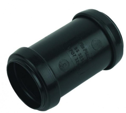 FLOPLAST 32mm Black Pushfit Waste Pipe Coupling