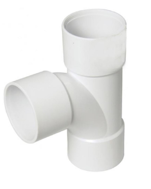 50mm White Solvent Waste Pipe Swept Tee - ABS