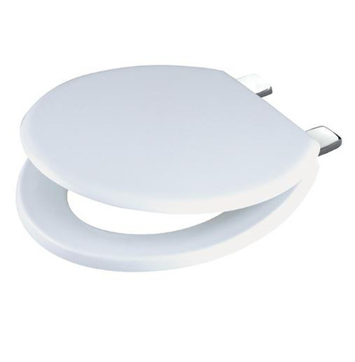 CELMAC Emerald White Toilet seat with Chromed Metal Hinges