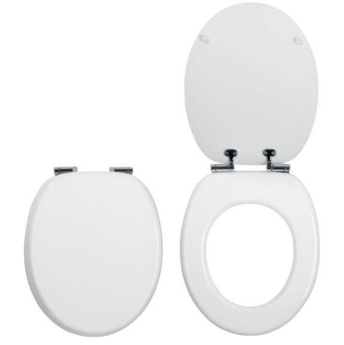 Celmac WOODY LUX Soft Close White Wooden Toilet Seat